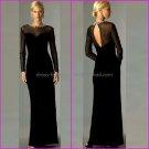 Long Sleeves Black Chiffon Floor Length Mother of the Bride Dress Long Sheath Evening Dress