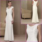 CAp Sleeves Ivory White Chiffon Floor Length Mother of the Bride Dress Long Embroidery Evening Dress