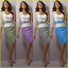 White Lace Green Red Purple Coral Blue Silver Satin Mother of the Bride Dress Short  Evening Dress