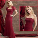 Strapless Burgundy Chiffon Mother of the Bride Dress Red Bridesmaid Evening Dress Free Lace Jacket