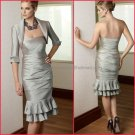 Strapless Silver Taffeta Knee Length Mother of the Bride Dress Pleated Short Evening Dress & Jacket