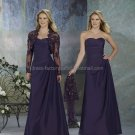 2012 Strapless Deep Purple Mother of the Bride Dress Long Evening Dress Free Lace Jacket