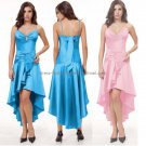 A-line 2 Straps Short Evening Dress Cocktail Dress StockHi-low Pink Blue Green Bridesmaid Prom Dress