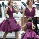 A-line Short Evening Dress Cocktail Dress V-neck Purple Bridesmaid Prom Dress
