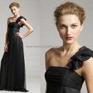 One Shoulder Evening Dress Party Dress Full Length Black Chiffon Bridesmaid Dress