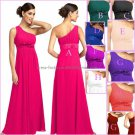 One Shoulder Evening Dress Party Dress Long Black Hot Pink Blue Red  Green Chiffon Bridesmaid Dress