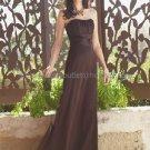 Strapless Evening Dress Prom Dress Long Brown Chiffon Bridesmaid Dress