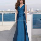 V-neck Teal Blue Taffeta Evening Dress Prom Dress Long Bridesmaid Dress