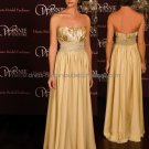 Strapless Evening Dress Prom Dress Long Beaded Gold Satin Chiffon Bridesmaid Dress