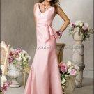 2012 Hot Sale V-neck Pink Taffeta Evening Dress Prom Dress with Sash Long Bridesmaid Dress
