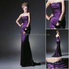 Strapless Mermaid Evening Dress Prom Dress Long Pleated Purple Satin Bridesmaid Dress