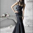 2012 Square Neck Mermaid Evening Dress Prom Dress Long Pleated Black Taffeta Bridesmaid Dress