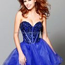 Blue Black Red Organza Strapless Sweetheart Evening Dress Short Prom Dress Beaded Party Dress