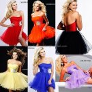 Blue Black Red Organza Strapless Sweetheart Evening Dress Short Prom Dress Beaded Tiered Party Dress