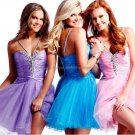 Blue Black Pink Organza Halter Sweetheart Evening Dress Short Prom Dress Beaded Tiered Party Dress