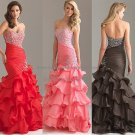 Pink Red Brown Organza Evening Dress Long Tiered Prom Dress Gown Beaded Party Dress