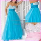 Blue Pink Organza Evening Dress Long Empire Waist Prom Dress Gown Beaded Party Dress