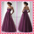 Empire Waist Purple Organza Maternity Evening Dress Long Prom Dress Gown Beaded Party Dress
