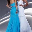 White Black Chiffon Strapless Mermaid Evening Dress Sweetheart Prom Dress Beaded Party Dress