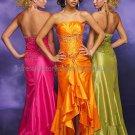 Strapless Orange Green Fuchsia Evening Dress Prom Dress Font Slit Bridal Gown Beaded Party Dress