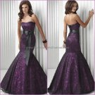 Black Lace Purple Satin Evening Dress Long Prom Dress Mermaid Evening Gown & Sash Bridal Party Dress