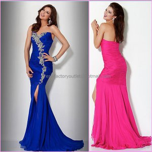 Blue Fuchsia Chiffon Strapless Mermaid Evening Dress Prom Dress Embroidery Front Slit Party Dress