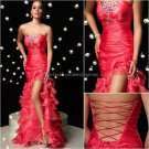 Hot Pink Organza Evening Dress Long Prom Dress Bridal Gown Front Slit Lace Up Back Party Dress