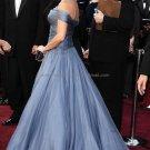Off Shoulder Blue Chiffon Bridesmaid Evening Dress Long Prom Gown Celebration Dress