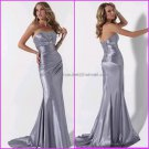 Silver Satin Evening Dress Long Prom Dress Bridal Gown Mermaid Strapless Party Dress