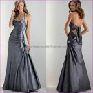 Gry Silver Taffeta Evening Dress Long Prom Dress Bridal A-line Halter Back Straps Beaded Party Dress