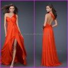 One Shoulder Orange Chiffon Evening Dress Long Prom Dress Bridal Gown A-line Front Slit Party Dress