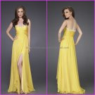 A-line Pleated Yellow Chiffon Evening Dress Long Prom Dress Bridal Gown Front Slit Party Dress