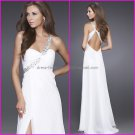 A-line Pleated White Evening Dress Long Prom Dress Bridal Gown One Shoulder Party Dress