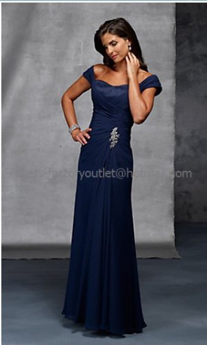 2012 Blue Chiffon Mother of the Bride Dress Cap Sleeves Pleated Evening Dress