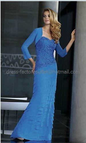 2012 New Blue Chiffon Lace Mother of the Bride Dress Free Jacket Tiered Evening Dress