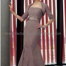 One Shoulder Brown Chiffon Mother of the Bride Dress Free Jacket Pleated Coffee Evening Dress
