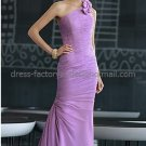 One Shoulder Lavender Chiffon Mother of the Bride Dress Pleated Mermaid Evening Dress