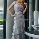 Silver Chiffon Long Mother of the Bride Dress Cap Sleeves V-neckline Pleated Evening Dress