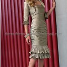 2012  Bronze Satin Taffeta Short Mother of the Bride Dress Free Jacket Ankle Length Evening Dress