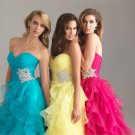 Strapless Blue Fuchsia Yellow Organza Bridal Evening Dress Pleated A-line Prom Dress Formal Gown
