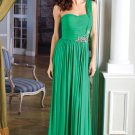 One Shoulder Green Chiffon Bridal Evening Dress Pleated A-line Prom Dress Formal Gown