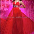 Halter White Red Blue Chiffon Bridal Evening Dress Jeweled A-line Prom Dress Formal Gown