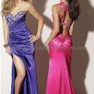 One Shoulder Blue Fuchsia satin Bridal Evening Dress Front Slit Jeweled Prom Dress Formal Gown