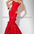 Straples Red Taffeta Bridal Evening Dress Bridesmaid Long Mermaid Prom Dress Beaded Formal Gown