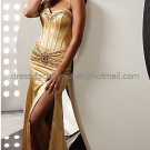 Straples Gold Red Satin Bridal Evening Dress Bridesmaid Long Mermaid Prom Dress Beaded Formal Gown