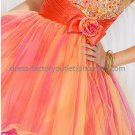 Straples Coral Short Bridal Evening Dress Bridesmaid A-line Prom Dress Beaded Cocktail Dress