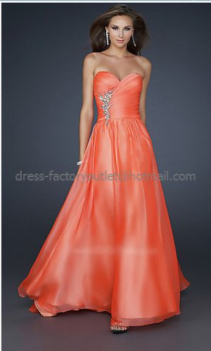 Strapless Sweetheart Coral Chiffon Long Bridal Evening Dress A-line Prom Dress Beaded Cocktail Dress