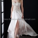 Strapless Chamoagne Satin Long Bridal Evening Dress A-line Prom Dress Applique Beaded Formal Dress