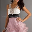 Two Beaded Straps White Black Pink Bridal Evening Dress A-line Short Prom Dress Formal Gown