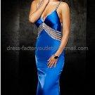 Spaghetti StrapsWhite Blue SATIN Bridal Evening Dress Mermaid Prom Dress Formal Gown